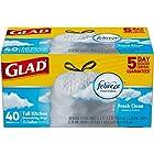 Glad OdorShield Tall Kitchen Drawstring Trash Bags - Febreze Fresh Clean - 13 Gallon - 40 count (Packaging May Vary)