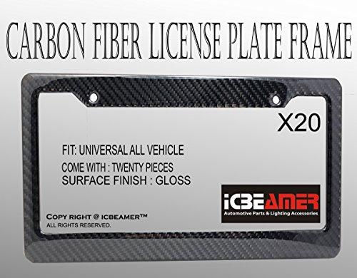 ICBEAMER Waterproof Black Plastic + Gloss Carbon Fiber on top Auto Vehicle Truck Van License Plate Frames by ICBEAMER (Image #1)