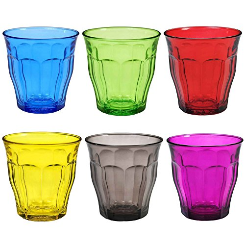 Duralex Picardie Coloured Water Tumbler Glasses - 250ml - Multi Coloured - Set of 6
