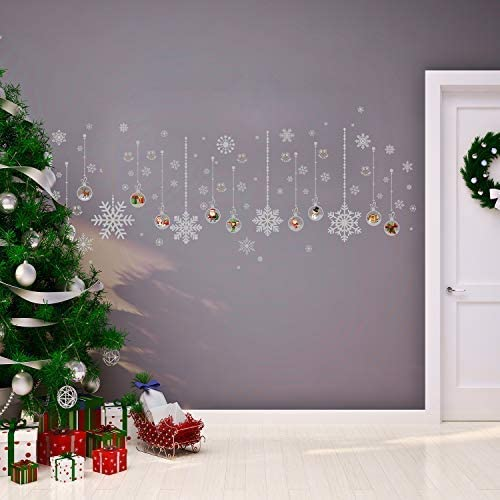 Walplus Merry Christmas Decorations Gift Silver Snow Flakes Matt Silver Christmas Ornaments Wall Stickers Santa Wall Murals Decals Living Room Children Nursery Home Decor Amazon Co Uk Kitchen Home