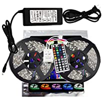 xtf2015 10M/32.8ft Color Changing RGB 5050 SMD Waterproof 600 LEDs Lighting Rope Lights 60LEDs/M Flexible Strip Light Kit + Two Outputs 44key IR Remote Controller + 8A Power Supply