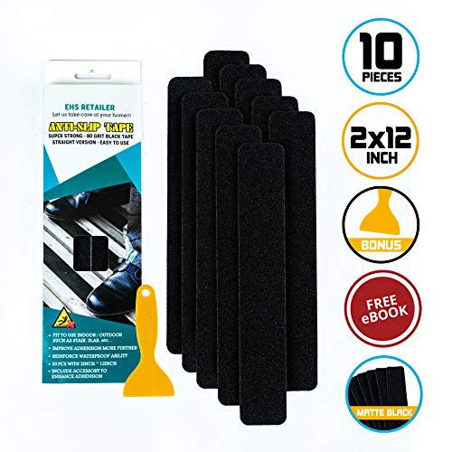 EHS Retailer Anti Slip Tape Waterproof Pre-Cut 10 Pieces 2 x 12inchs | Stair Treads Non-Slip Version 2019 | Strong Grip Tape For Stairs | Black Color 80 Grit | Bonus Scraper and Ebook