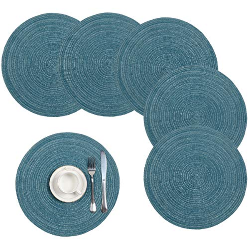 Pauwer Cotton Braided Round Placemats for Kitchen Dining Table Woven Round Table Place mats Washable,(Set of 6)