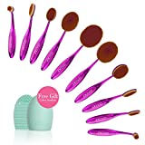 Docolor Oval Makeup Brushes Set with Cleaner Tools (Purple,10Pcs)