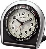 CITIZEN ( シチズン ) 目覚まし 時計 ワールドタイム965 旅行 用 トラベル クロック 世界時計 蓄光 シルバー 4GE965-019