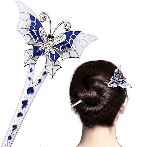 LiveZone Fashion Hair Decor Chinese Traditional Style Women Girls Hair Stick Pin Fork Hairpin Hair Making Accessory with Butterfly,Blue and White