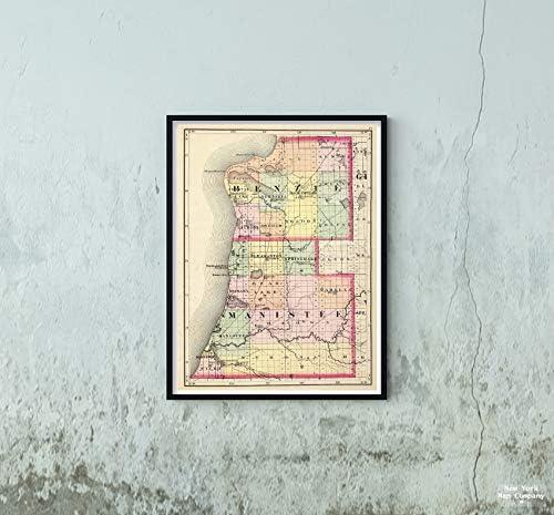 1873 地図 ミシガン州ベンジーとマニスティー郡の州アトラス ヴィンテージファインアート複製 サイズ:18x24 すぐに額装可能
