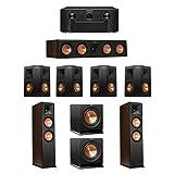 Klipsch 7.2 Walnut System with 2 RP-280F Tower Speakers, 1 RP-450C Center Speaker, 4 Klipsch RP-250S Ebony Surround Speakers, 2 Klipsch R-110SW Subwoofer, 1 Marantz SR7011 A/V Receiver