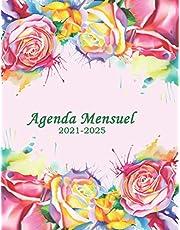 Agenda Mensuel 2021-2025: planificateur 2021-2025, 60 mois de Janvier 2021 à Décembre 2025, 1 mois sur 2 pages contenant objectifs, gratitude, affirmation, revenu total, charges total, solde, à faire … notes