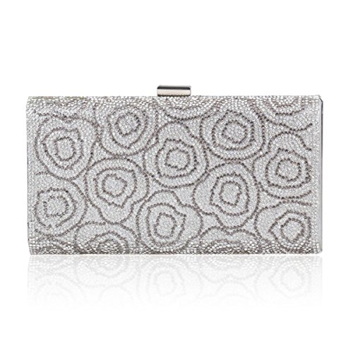 Silver Textured Evening Womens Crystal Studded Rose Clutch Elegent Damara xRO4FTS
