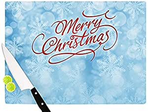 """Kess InHouse Snap Studio """"Merry Christmas"""" Cutting Board, 11.5 by 8.25-Inch, Blue, Typography"""