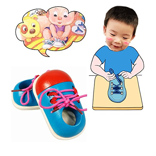 Educational Shoes,Kids'Toy Learn How To Tie Shoelaces Shoes Lacing Wood Lacing Sneaker Educational Preschool Toy Hand Coordination Development By KateDy-2pcs,Random Color