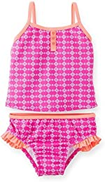 Baby Girls Geo Print Tankini  Pink White  - 12 Months