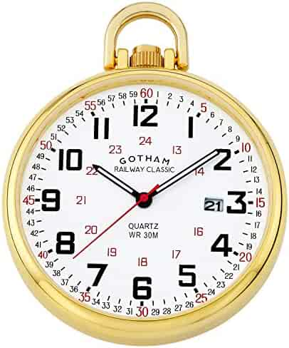 Gotham Men's Gold Plated Stainless Steel Analog Quartz Date Railroad Style Pocket Watch # GWC14107G