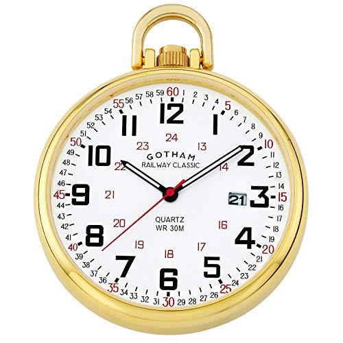 Date Pocket Watch - Gotham Men's Gold Plated Stainless Steel Analog Quartz Date Railroad Style Pocket Watch # GWC14107G