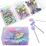 Lwestine 400 Pcs Flat Button &Flower Head Pins,Straight Pins, Quilting Pins with Cases