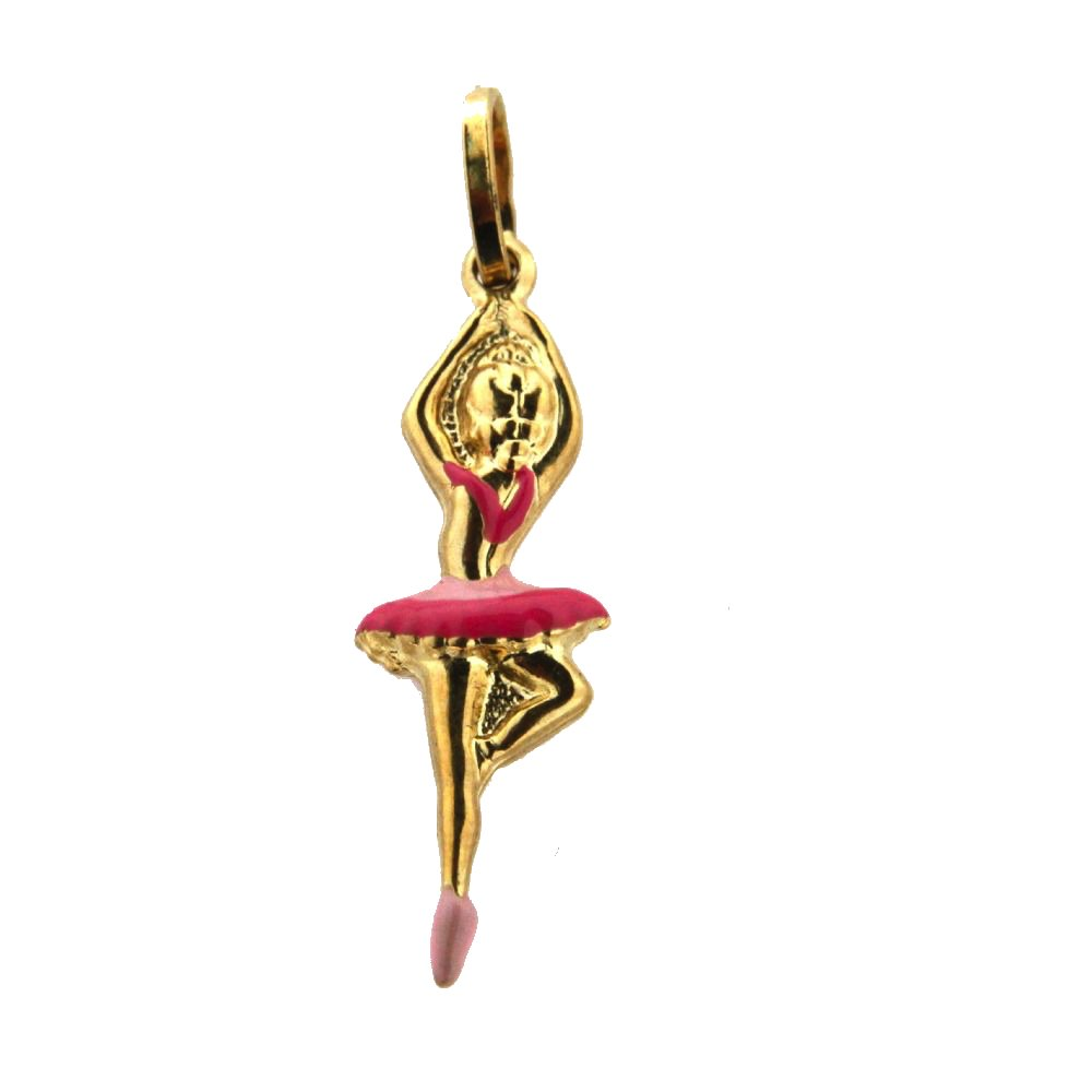 18K Yellow Gold Pink Enamel Ballerina Charm 24mm X 9mm//32mm with Bail