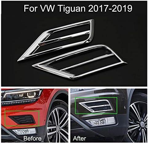Yingchi 2pcs Car Chrome Front Fog Light Lamp Frame Cover Trim Emblems for VW Tiguan 2017-2018-2019