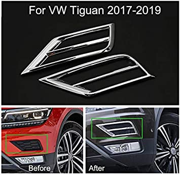 2Pcs Chrome Before Fog Light Lamp Cover Decorate Trim For VW Tiguan 2017 2018