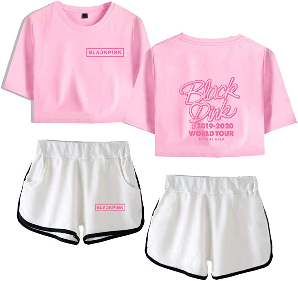Blackpink World Tour Girls Crop Top /& Shorts 2 Pieces Short Sleeve T-Shirt Top and Shorts Set Gym Workout Running Tracksuit Ourtfits Summer Casual Sportswear Pajamas Yoga Clothes