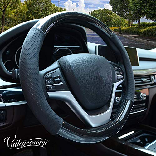 (Valleycomfy Carbon Fiber Steering Wheel Covers Universal 15 inch Breathable, Anti Slip & Odor Free with Pu Leather for Car Truck SUV)