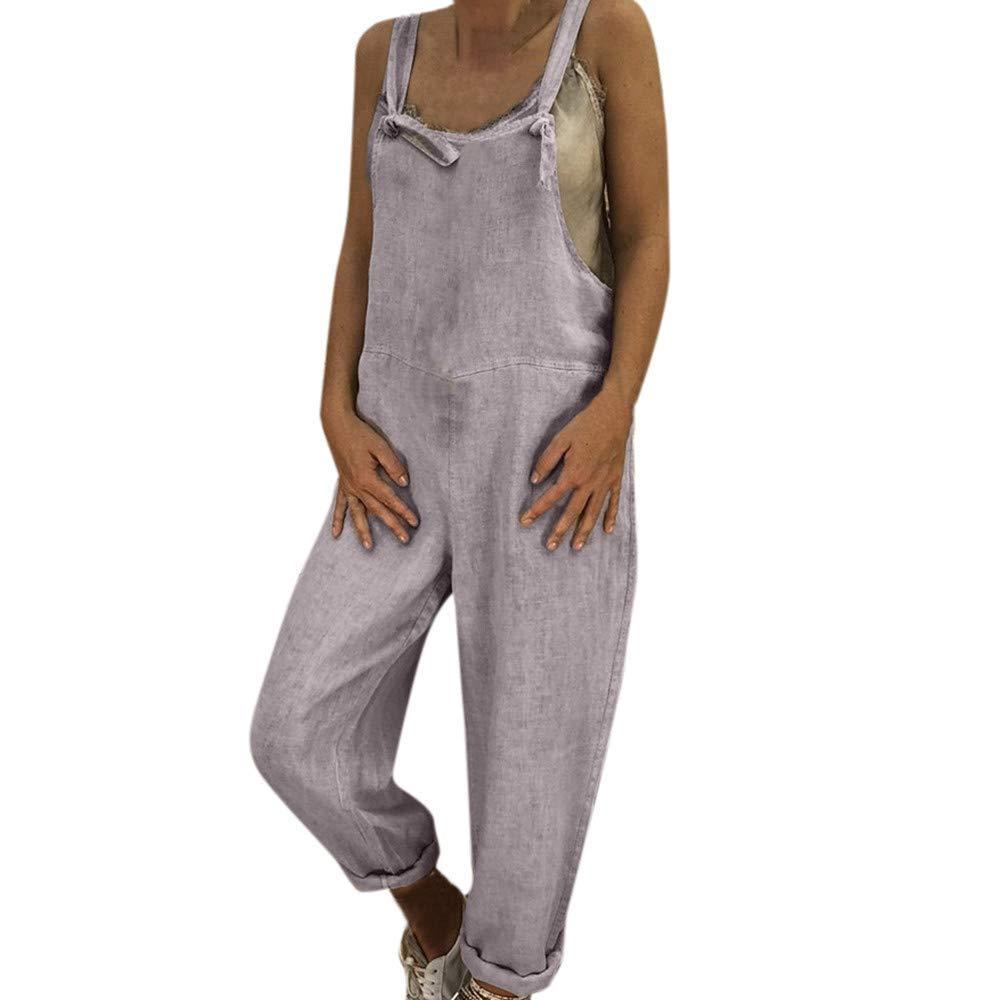 Sexy Elegant Jumpsuits, Women Overalls,Caual Linen Long Playsuit Dungarees Harem Pants Ladies Loose Wide Leg Jumpsuits Gray XL