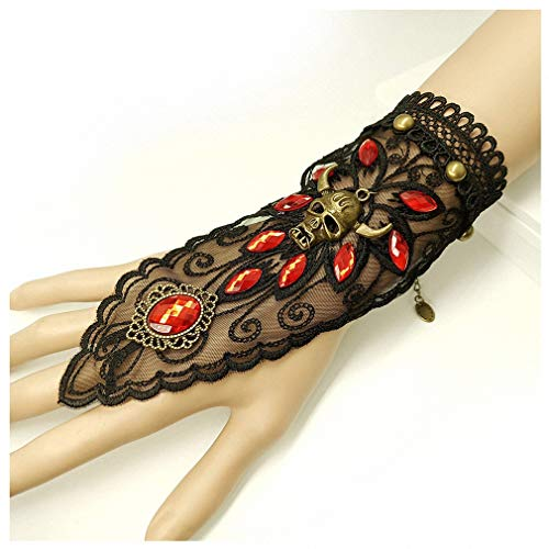 (1 Pc Women Vintage Steampunk Style Sexy Lace Fingerless Long Gloves Trend Personality Lace Hollow-Out Chain Pearl Horned Skull Bracelet Skid Resistant Gloves Gothic Party Costumes)
