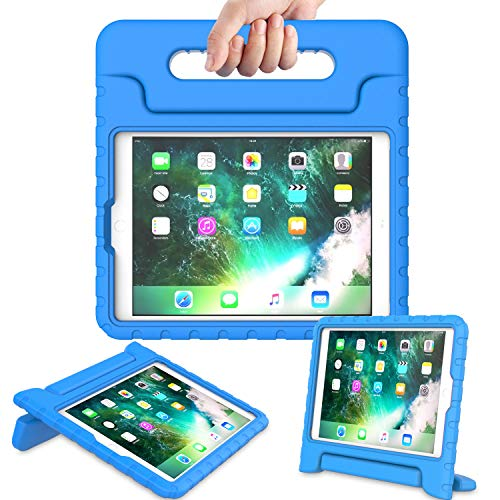 AVAWO Kids Case for New iPad 9.7 2017 & 2018 Release - Light Weight Shock Proof Convertible Handle Stand Friendly Kids Case for iPad 9.7-inch 2017 & 2018 Latest Gen (iPad 5th & 6th Gen) - Blue (Handle Ipad Case)
