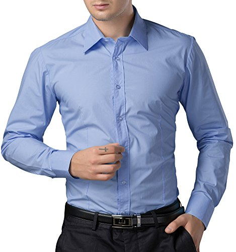 Paul Jones®Men's Shirt Men's Business Casual Shirt Button Down (S) CL1044-5 Light Blue