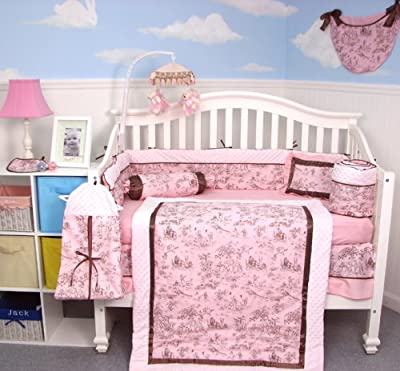 Soho Pink Brown French Toile Baby Crib Nursery Bedding Set 13 Pcs Included Diaper Bag With Changing Pad Bottle Case by Soho Designs