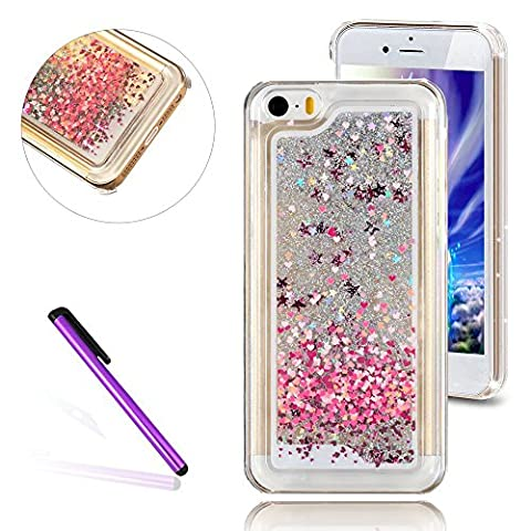 iPhone 5C Case,3D Liquid Brilliant Luxury Bling Glitter Liquid Floating Angle Girl Moving Hard Protective Case for Apple iPhone 5C (Love (3d Bling Cases For Iphone 5c)