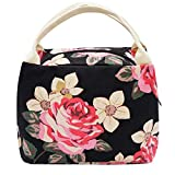 Lunch Bag, Floral Lunch Tote Box Bag Large Canvas Lunch Handbags for Women Girls