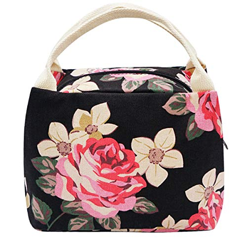 Lunch Bag, Floral Lunch Tote Box Bag Large Canvas Lunch Handbags for Women - Bag Girls Handbag Women