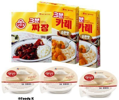 Three Minute Instant Food Combo:Mild Curry(4) + Black Bean Sauce(2) + CJ Cooked White Rice(6) by Ottog & CJ