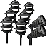 Paradise Cast Aluminum Low Voltage Landscape Lighting 8 Piece Set (Black)