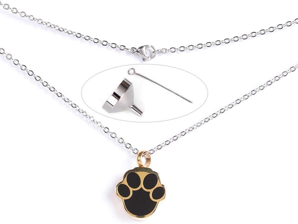 HEEPDD Colgante de Ceniza para Mascotas, Huella Dorada en Forma de Collar de urna Conmemorativa Gato de Perro Cenizas Recuerdo Titular con Kit de Relleno de Embudo