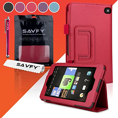 """Photo - SAVFY® 2014 New!!!Amazon Kindle Fire HD 6"""" Tablet (4th Generation, Wi-Fi 8GB & 16GB) Multi-Function SMART FOLIO Flip Stand Typing/Viewing PU Leather Case Cover With Auto Sleep/Wake Sensor + Screen Protector + Stylus Pen"""