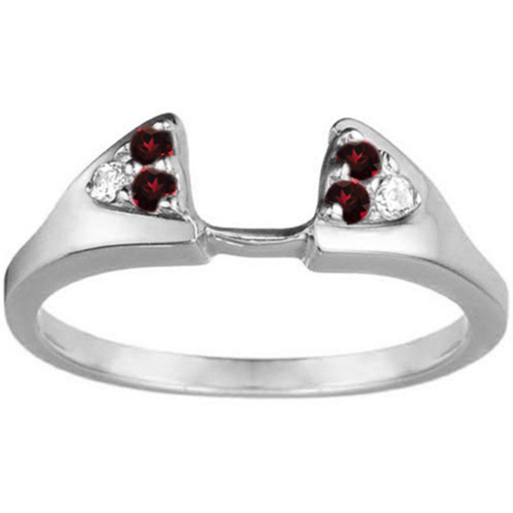 Diamond and Created Ruby Ring Wrap Enhancer set in Sterling Silver (0.21 ct. twt)