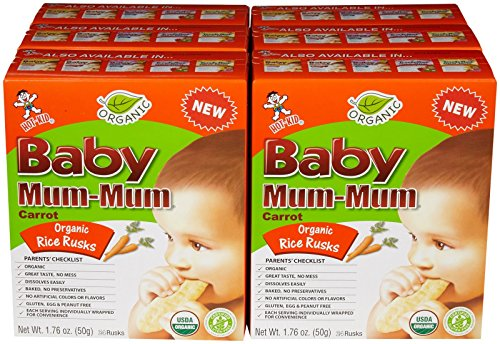 Mum Mum Rice Biscuits-Organic Carrot-1.76 Ounces-6 Pack