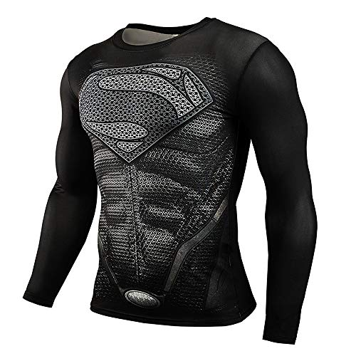 CoolMore Super Man Compression T Shirts Long Sleeve Cosplay Tops Tee for Man 3D Printed T Shirts (Black, XXL)