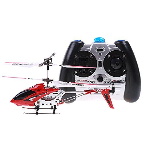 Ollivan® Ursprüngliche Syma S107G S107 3.5CH Mini RC Hubschrauber mit Gyro Funkfernsteuerung Indoor Outdoor Drohne mit Aluminiumrahmen errichtet im Gyroskop(Syam Rot)