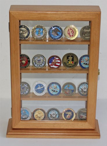 Military Challenge Coin Casino Poker Chip Display Case Counter Top Holder Stand Shadow Box, Glass Door (Oak Finish - Large)