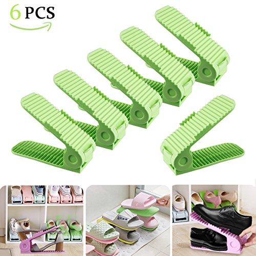 10er Set Schuh Slots Verstellbare Schuheorganizer für Schrank Schuhstapler Schuhkollektor Schuh Stapler, Plastik Doppel Schicht Space Saver Ablagegestelle Halter Grün