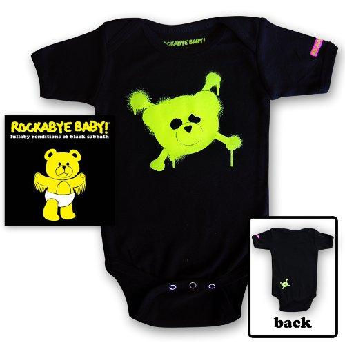 Rockabye Baby! Lullaby Renditions of Black Sabbath + Rockabye Baby 100% Organic Cotton Onesie (Green)