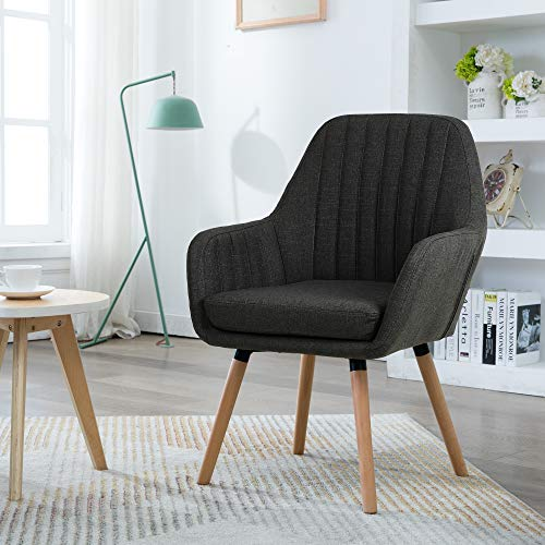 Bedroom Accent - LSSBOUGHT Contemporary Fabric Accent Chair with Solid Wood Frame Legs (Charcoal)
