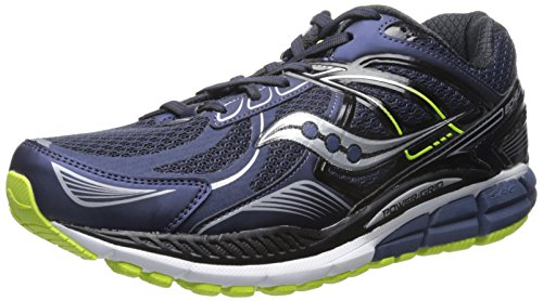 Saucony Men's Echelon 5 Wide Running Shoe, Navy/Black/Citron,7 W US