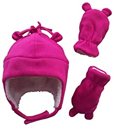 N\'Ice Caps Girls Sherpa Lined Micro Fleece Hat and Mitten Set with Ears (3-6 Months, Infant - Fuchsia)