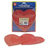 Hygloss Products Heart Paper Doilies – 6 Inch Red Lace Doily for Decorations, Crafts, Parties, 100 Pack