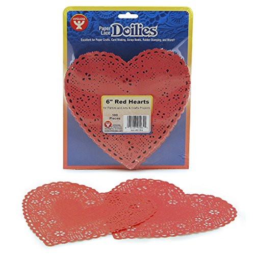 Hygloss Products Heart Paper Doilies – 6 Inch Red Lace Doily for Decorations, Crafts, Parties, 100 Pack by Hygloss