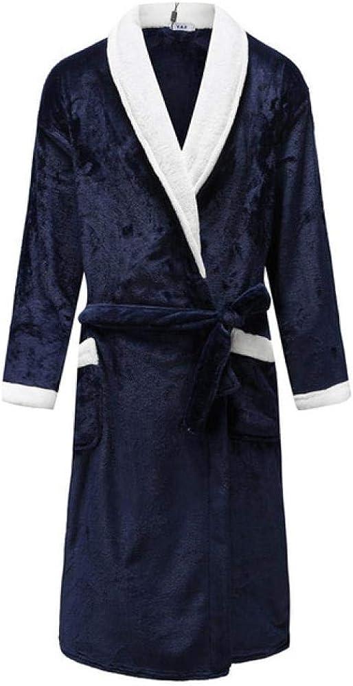 Otoño/Invierno Hombres Camisón Kimono Albornoz Bata Coral Fleece Negligee Cuello En V Lencería Íntima Color Sólido Ropa De Dormir, Hombre Robe 6, XXXL